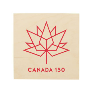 Canada 150 Official Logo - Red Outline Wood Print