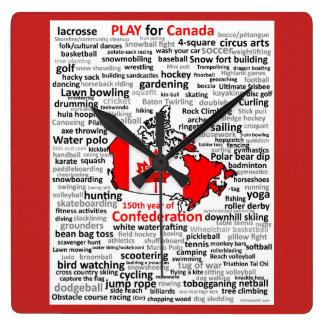 Canada 150 Play List Square clock