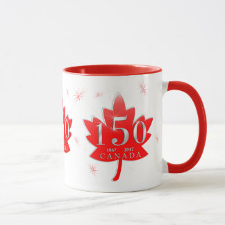 Canada 150 Red Maple Leaf Fireworks Mug
