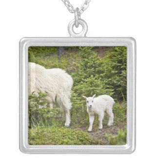 Canada, Alberta, Jasper National Park, Mountain 2 Square Pendant Necklace