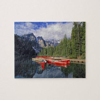Canada, Alberta, Moraine Lake. The glassy Puzzles