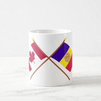 Canada and Andorra Crossed Flags Coffee Mug