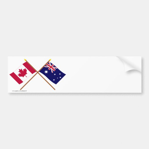 Canada and Australia Crossed Flags Bumper Stickers