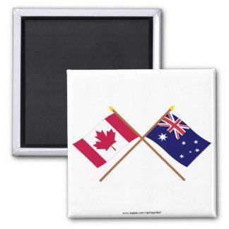 Canada and Australia Crossed Flags Square Magnet