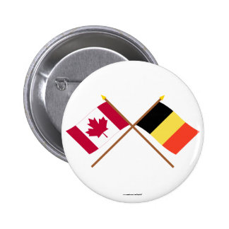 Canada and Belgium Crossed Flags Button