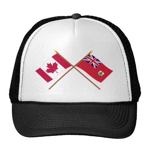 Canada and Bermuda Crossed Flags Mesh Hats
