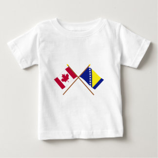 Canada and Bosnia & Herzegovina Crossed Flags Baby T-Shirt
