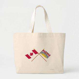 Canada and British Columbia Crossed Flags Jumbo Tote Bag