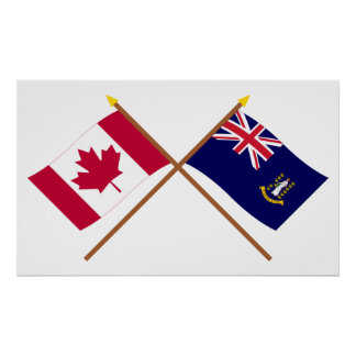 Canada and British Virgin Islands Crossed Flags Poster