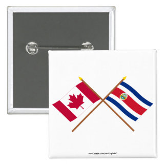 Canada and Costa Rica Crossed Flags Pinback Button