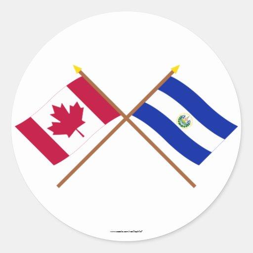 Canada and El Salvador Crossed Flags Sticker