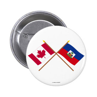 Canada and Haiti Crossed Flags Buttons