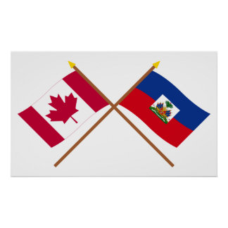 Canada and Haiti Crossed Flags Poster