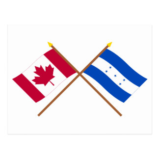 Canada and Honduras Crossed Flags Postcards