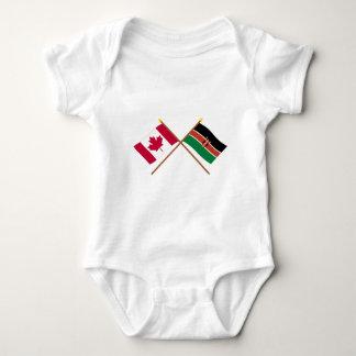 Canada and Kenya Crossed Flags Baby Bodysuit
