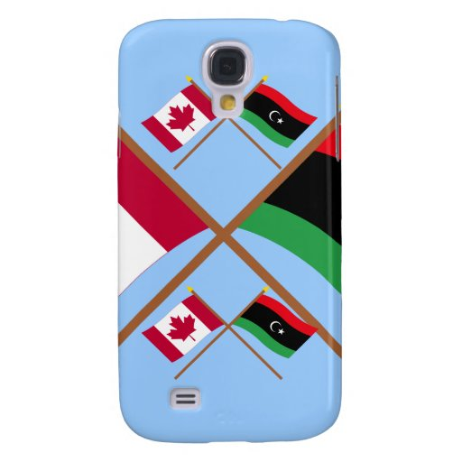 Canada and Libya Crossed Flags Galaxy S4 Covers