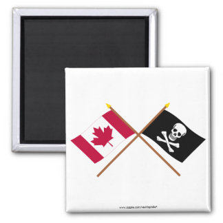 Canada and Pirate Crossed Flags Magnet