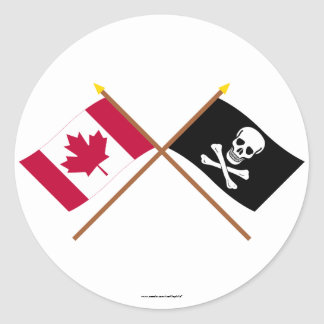 Canada and Pirate Crossed Flags Round Sticker