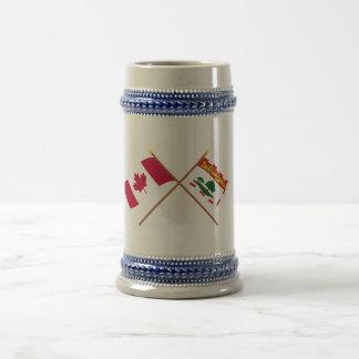 Canada and Prince Edward Island Crossed Flags Coffee Mugs