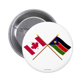 Canada and Southern Sudan Crossed Flags Pinback Button