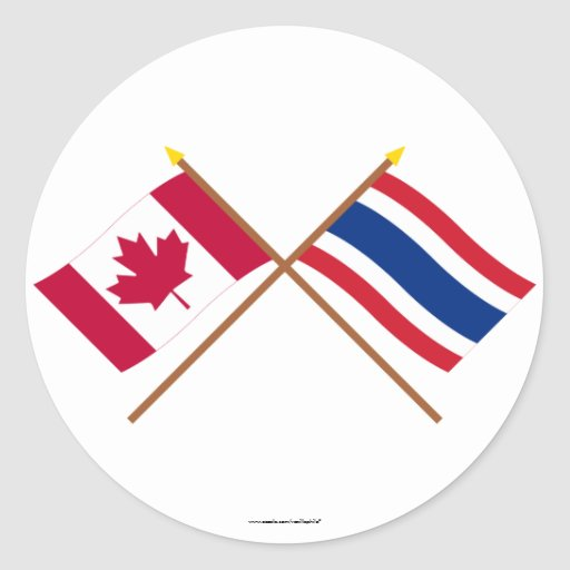 Canada and Thailand Crossed Flags Round Sticker