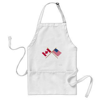 Canada and United States Crossed Flags Apron