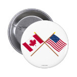 Canada and United States Crossed Flags 6 Cm Round Badge