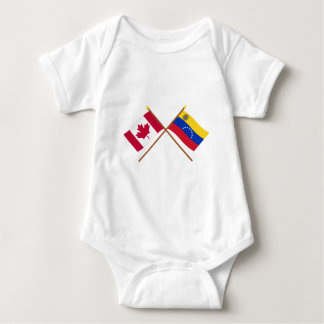 Canada and Venezuela Crossed Flags Baby Bodysuit