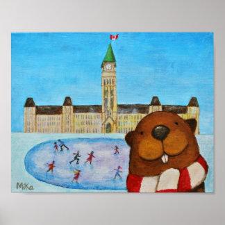 Canada Beaver Parliament Hill Poster Canadian Art