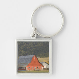 CANADA, British Columbia, Enderby. Red Barn / Silver-Colored Square Key Ring