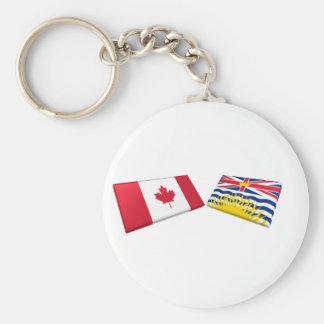 Canada & British Columbia Flag Tiles Keychain