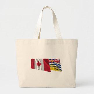 Canada & British Columbia Waving Flags Canvas Bag