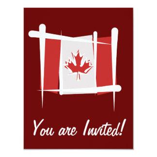 Canada Brush Flag Personalized Invites