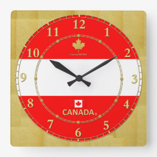 Canada Colours Gold Numbers Modern Wall Clock Gift