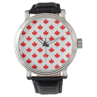 canada country flag symbol maple leaf pattern text watch