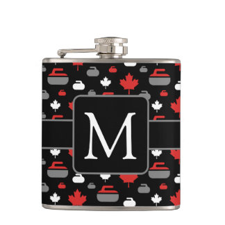 Canada Curling Rocks Flask with Monogram