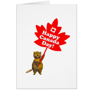 Canada Day Beaver and Maple Leaf Card