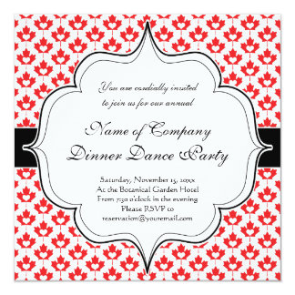 Canada Day Canadian Maple Leaf and Heart 13 Cm X 13 Cm Square Invitation Card
