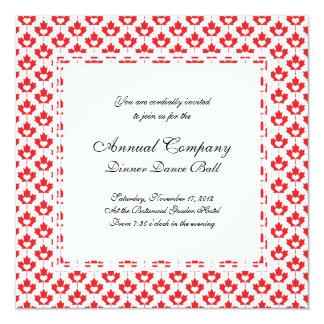 """Canada Day Canadian Maple Leaf and Heart 5.25"""" Square Invitation Card"""