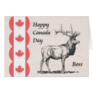 Canada Day Card for Boss with Moose & Flag Icon