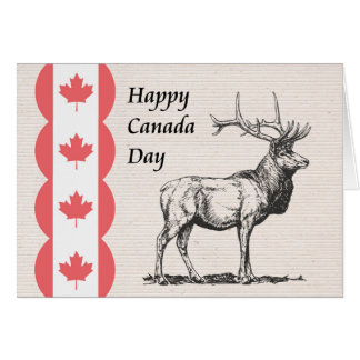 Canada Day Card with Moose and Flag Icons.