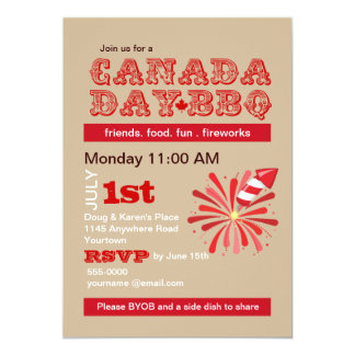 Canada Day Cookout 13 Cm X 18 Cm Invitation Card