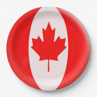 Canada Day maple leaf red & white flag - Weave Paper Plate