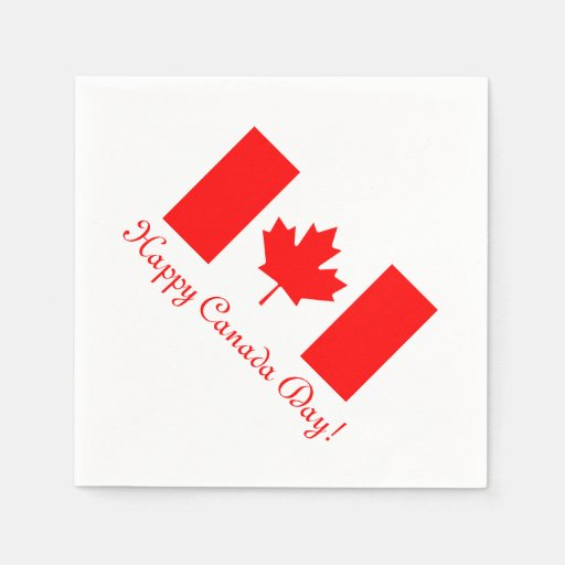 Canada Day paper napkins with Canadian flag