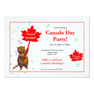 Canada Day Party Beaver 13 Cm X 18 Cm Invitation Card