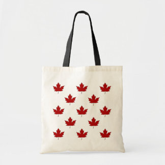 Canada Day Red Maple Leaf Pattern Budget Tote Bag