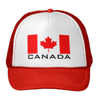 Canada Day red trucker hat with Canadian flag
