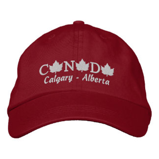 Canada Embroidered Red Ball Cap - Calgary Alberta Embroidered Baseball Caps