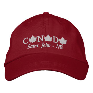 Canada Embroidered Red Ball Cap - Saint John - NB Embroidered Hats