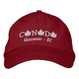 Canada Embroidered Red Ball Cap - Vancouver BC Embroidered Baseball Caps